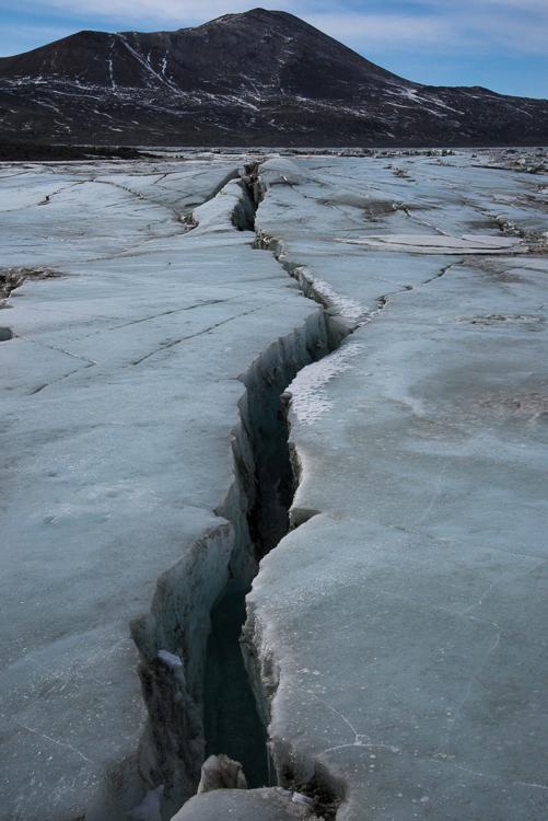 Crack in sea ice, Antarctica.