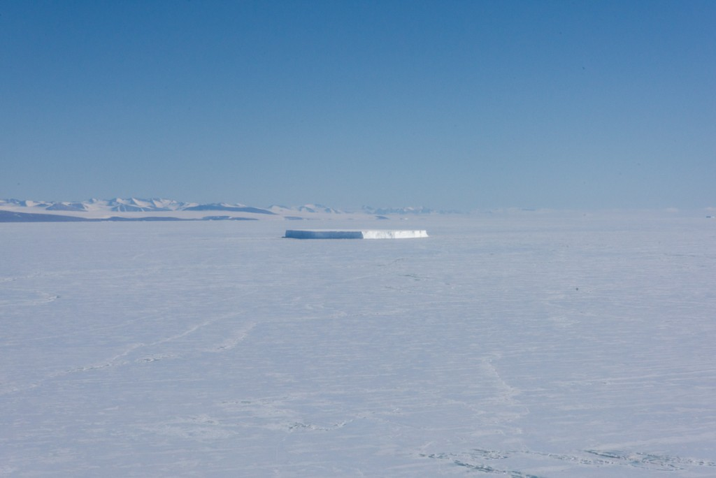 Iceberg stuck in sea ice