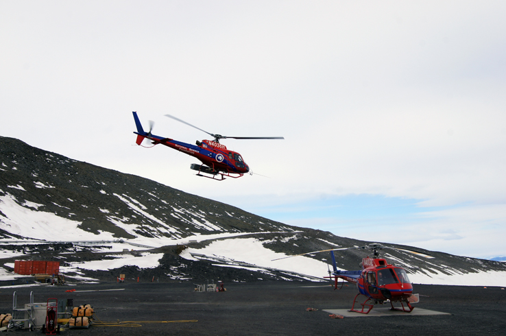 Helicopter taking off from McMurdo