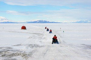Snowmobiles on McMurdo Sound sea ice.