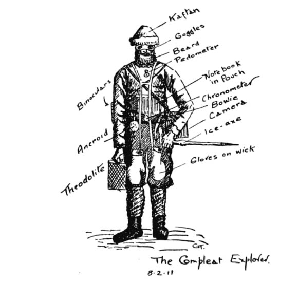 "Griffith Taylor's sketch of ""The Compleat Explorer."""