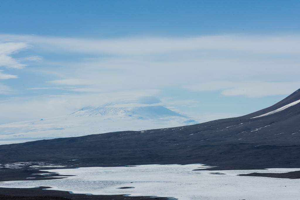 Mt. Erebus and Lake Fryxell from the Canada Glacier.